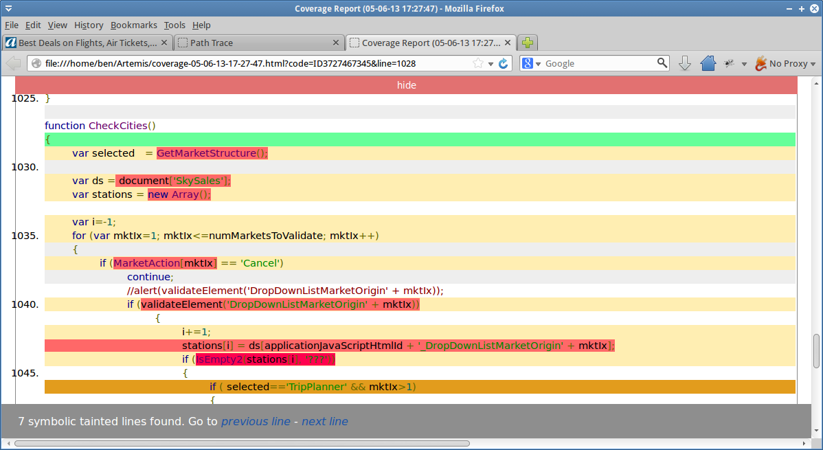 Coverage             Report: Shows which lines in the JavaScript source were covered or contained symbolic information.